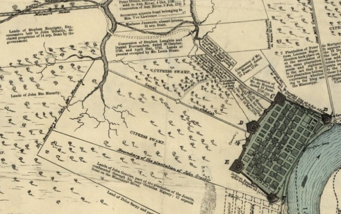 """Plan of the City of New Orleans & Adjacent Plantations,"" 1798"