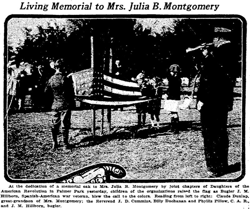 Julia Montgomery Memorial Oak Tree Palmer Park. &lt;br /&gt;<br /> &lt;br /&gt;<br /> Courtesy of the Times Picayune March 15, 1923.