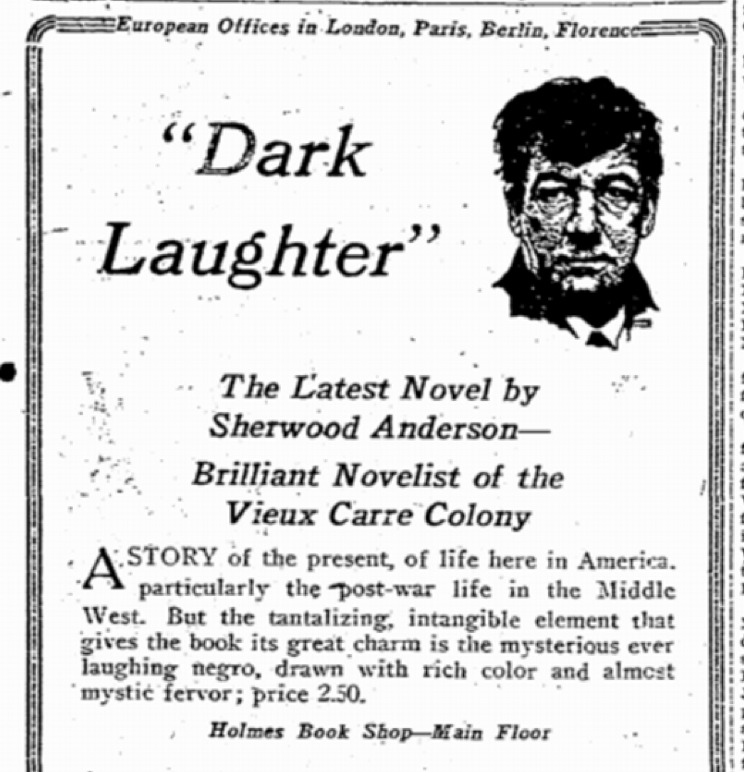 A Newspaper Advertisement for Anderson's <em>Dark Laughter</em>, 1925.