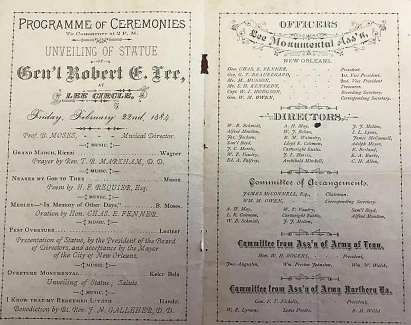 Programme of Ceremonies: Unveiling of Statue Gen'l Robert E. Lee