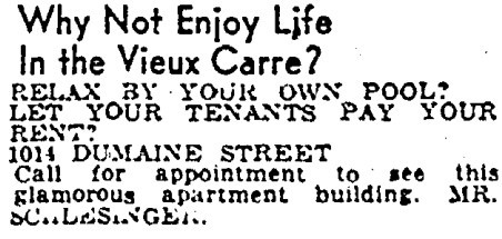 Listing in the April 29, 1962 Times-Picayune
