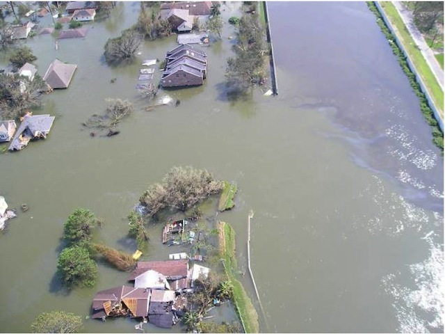 Aerial view of breach of 17th Street Canal