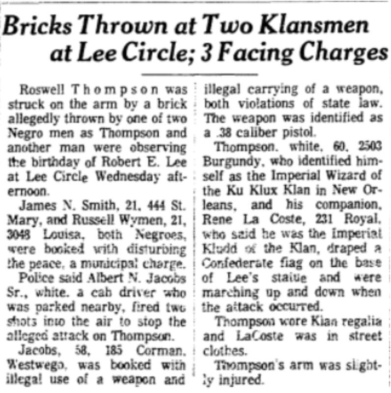 """Bricks Thrown at Two Klansmen at Lee Circle; 3 Facing Charges"""