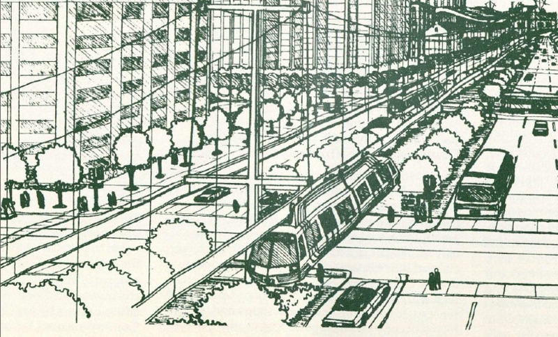 Proposed Monorail on Poydras Street, 1981