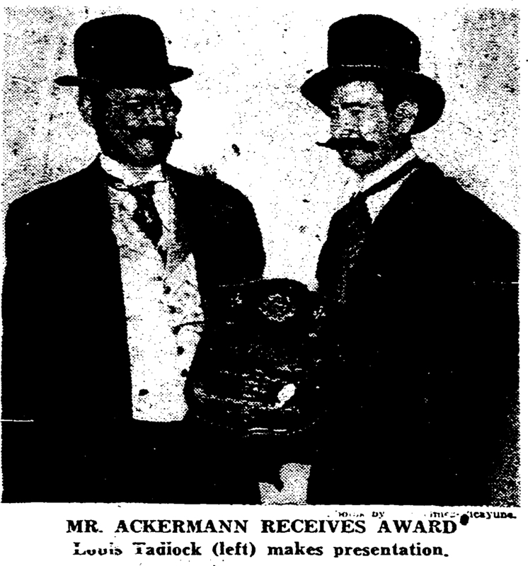 John Ackerman was awarded a plaque as part of the annexation 75th anniversary celebration in Palmer Park. Ackerman won the award for performing the most outstanding service for Carrollton in 1948.&lt;br /&gt;<br />