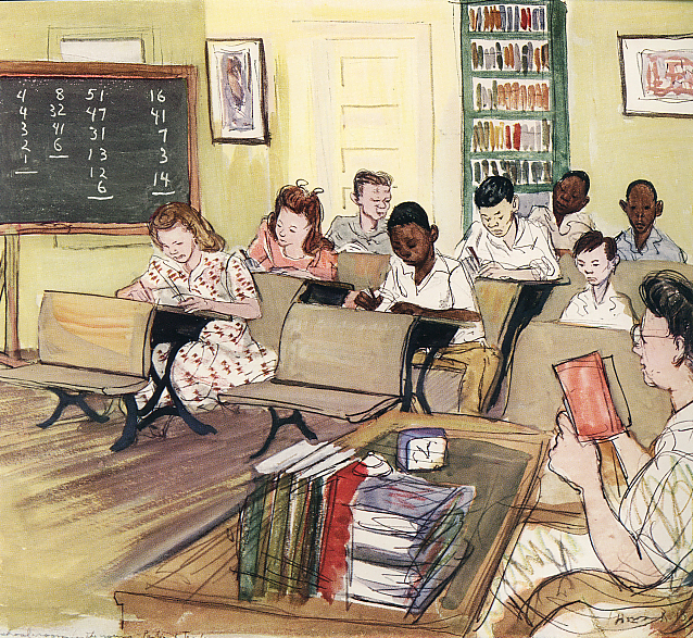 This reproduction of an original painting from 1947 shows an integrated school on the Carville campus. &lt;br /&gt;<br />