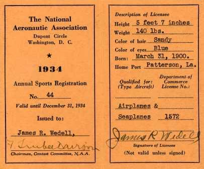 Jimmie Wedell's 1934 Racing License