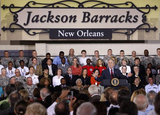 President Bush speaks at Jackson Barracks