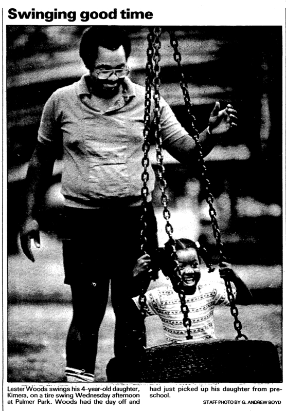 A child playing on a tire swing Palmer Park. &lt;br /&gt;<br />