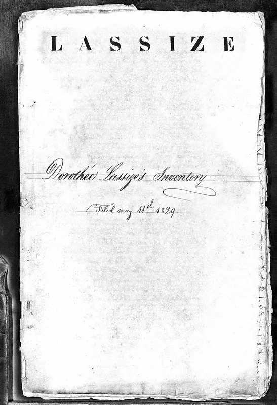 The Cover Page of Dorothee Lassize's Inventory Prepared for Her Will