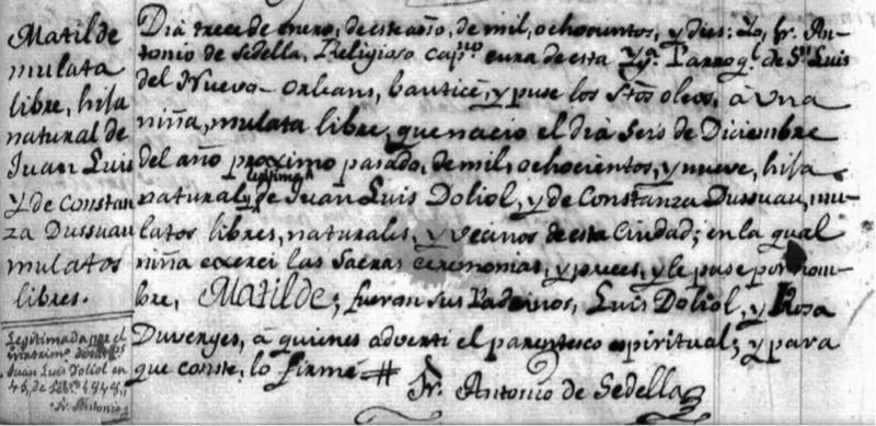 Mathilde Dolliole's Baptism