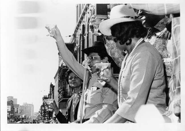 """""""Mayor and Mrs. Morial toast King and Queen Zulu in front of Gallier Hall, Mardi Gras Day"""""""