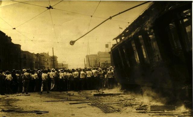 Burned strikebreaker car, July 5, 1929