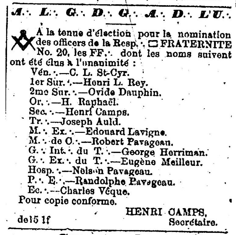 Advertisement for Fraternite No. 20 Meeting