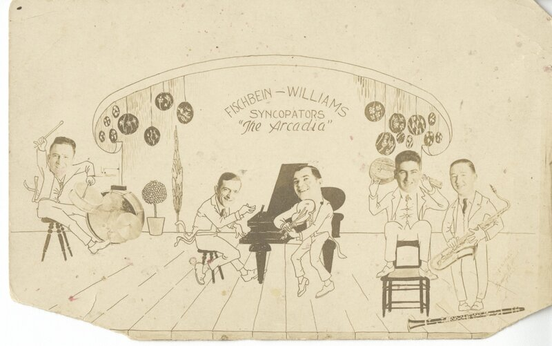 Cartoon advertisement for The Fischbein-Williams Syncopators jazz group posted at the Arcadia Dance Hall.
