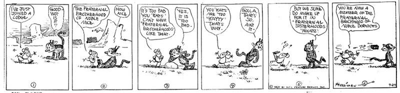 Krazy Kat Comic Referencing Fraternal Brotherhoods