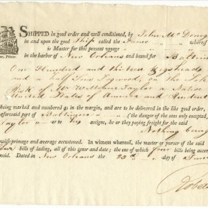 Bill of Lading from John McDonogh Jr. and Company from the port of New Orleans to the port of Baltimore to be received by William Taylor